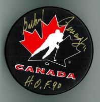 "Gilbert Perreault Autographed Team Canada Hockey Puck w/ ""HOF"""