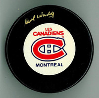 Gump Worsley Autographed Canadiens Game Puck
