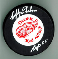 "Lefty Wilson Autographed Red Wings Puck w/ ""Cup 55"""