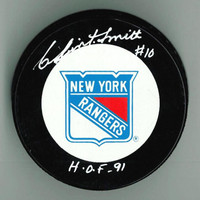 """Clint Smith Autographed Rangers Game Puck w/ """"HOF"""""""