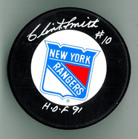 "Clint Smith Autographed Rangers Hockey Puck w/ ""HOF"""