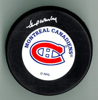 Gump Worsley Autographed Hockey Puck