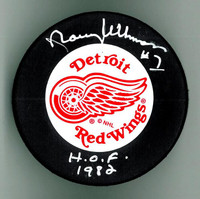 "Norm Ullman Autographed Detroit Red Wings Hockey Puck w/ ""HOF"""