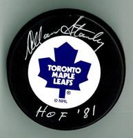 "Allan Stanley Autographed Maple Leafs Hockey Puck w/ ""HOF"""