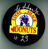 "Eddie Shack Autographed ""Eddie Shack Donuts"" Hockey Puck"