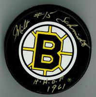 """Milt Schmidt Autographed Bruins Game Puck w/ """"HOF"""""""