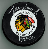 "Denis Savard Autographed Blackhawks Hockey Puck w/ ""HOF"""