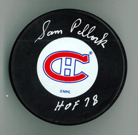 "Sam Pollock Autographed Montreal Canadiens Puck w/ ""HOF"""