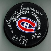 "Jacques Laperriere Autographed Canadiens Puck w/ ""HOF"""