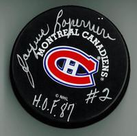 "Jacques Laperriere Autographed Canadiens Puck w/ ""HOF"""