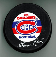 Elmer Lach Autographed Montreal Canadiens Hockey Puck