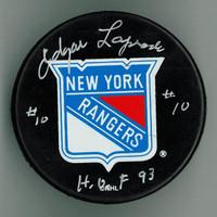"Edgar Laprade Autographed New York Rangers Puck w/ ""HOF"""