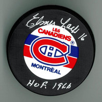 "Elmer Lach Autographed Canadiens Puck w/ ""HOF"""