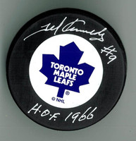"Ted Kennedy Autographed Maple Leafs Puck w/ ""HOF"""