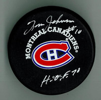 "Tom Johnson Autographed Canadiens Puck w/ ""HOF"""