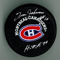 "Tom Johnson Autographed Canadiens Puck w/ ""HOF"""