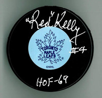 "Red Kelly Autographed Hockey Puck w/ ""HOF"" - Leafs or Wings"