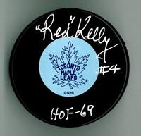 """Red Kelly Autographed Hockey Puck w/ """"HOF"""" - Leafs or Wings"""