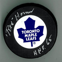 "Red Horner Autographed Toronto Maple Leafs Puck w/ ""HOF"""