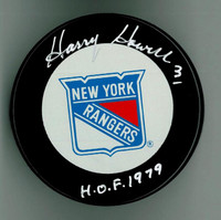 "Harry Howell Autographed Rangers Game Puck w/ ""HOF"""