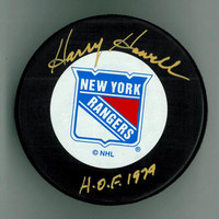 "Harry Howell Autographed Rangers Puck w/ ""HOF"""