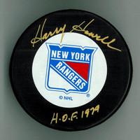 "Harry Howell Autographed Rangers Puck w/ ""HOF"""