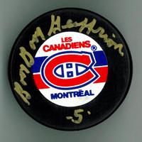 "Bernie ""Boom-Boom"" Geoffrion Autographed Canadiens Puck"