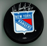 Vic Hadfield Autographed New York Rangers Puck