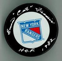 """Emile """"Cat"""" Francis Autographed Rangers Game Puck w/ """"HOF"""""""