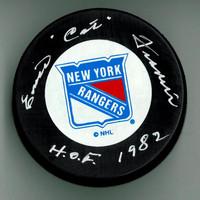 """Emile """"Cat"""" Francis Autographed Rangers Puck w/ """"HOF"""""""