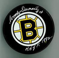 """Woody Dumart Autographed Bruins Game Puck w/ """"HOF"""""""