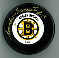 Woody Dumart Autographed Boston Bruins Hockey Puck