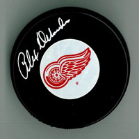 Alex Delvecchio Autographed Detroit Red Wings Puck