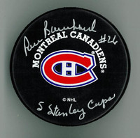 "Pierre Bouchard Autographed Canadiens Puck w ""5 Stanley Cups"""