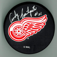 Andy Bathgate Autographed Detroit Red Wings Hockey Puck