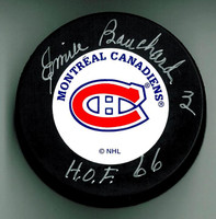 "Emile Bouchard Autographed Hockey Puck w/ ""HOF"""