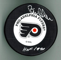 "Bill Barber Autographed Hockey Puck w/ ""HOF"""