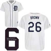 "Gates Brown Autographed Detroit Tigers Jersey w/ ""68 Champs"" Inscription"