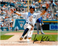 Ian Kinsler Autographed Detroit Tigers 8x10 Photo #4 - Sliding into Home Plate