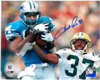 Herman Moore Autographed Detroit Lions 8x10 Photo #1 - Catching Pass vs Green Bay
