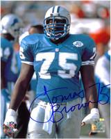 Lomas Brown Autographed Detroit Lions 8x10 Photo #3