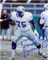 Lomas Brown Autographed Detroit Lions 8x10 Photo #2