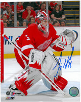 Jimmy Howard Autographed Detroit Red Wings 8x10 Photo #1 - Action In Net
