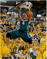 Adreian Payne Autographed Michigan State Spartans 8x10 Photo #3 - Dunk vs Michigan