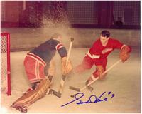 Gordie Howe Autographed Detroit Red Wings 8x10 Photo #2 - Shooting on Rangers Goalie
