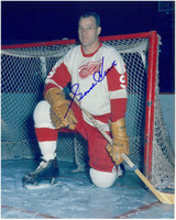 Gordie Howe Autographed Detroit Red Wings 8x10 Photo #1 - Kneeling in front of net