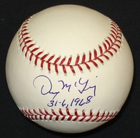"Denny McLain Autographed Baseball - Official Major League Ball w/ ""31-6, 1968"""