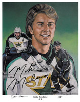 Mike Modano Autographed Minnesota North Stars 11x14 Lithograph