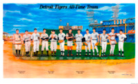 Detroit Tigers All Time Team Autographed Lithograph