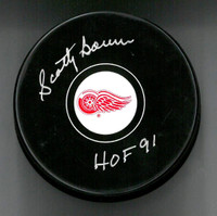 Scotty Bowman Autographed Puck with HOF 91